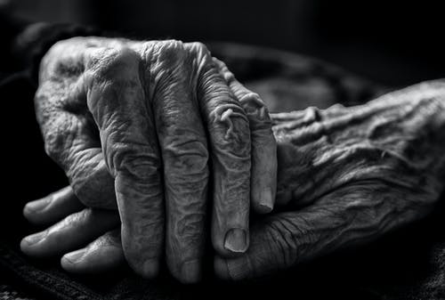 Grayscale Photo of an Elderly Person's Hands
