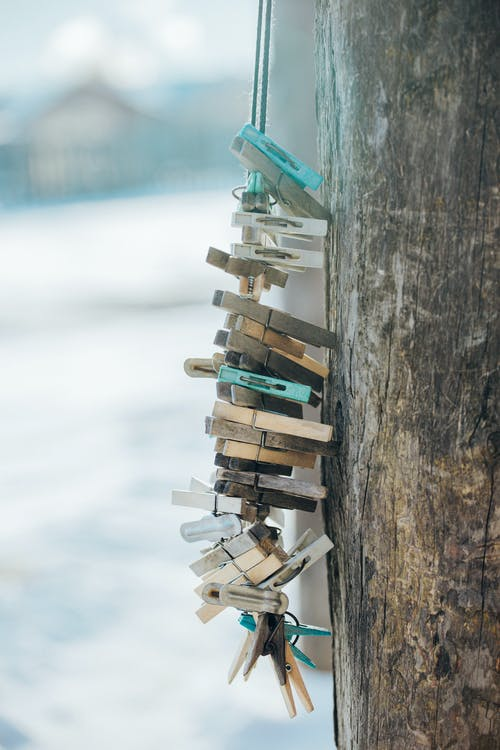 Clothespins on Hanging Ropes
