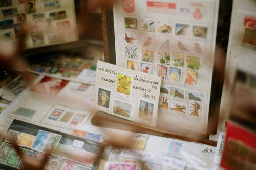 Showcase with assorted postage stamps with illustrations of birds and artworks for sale in shop