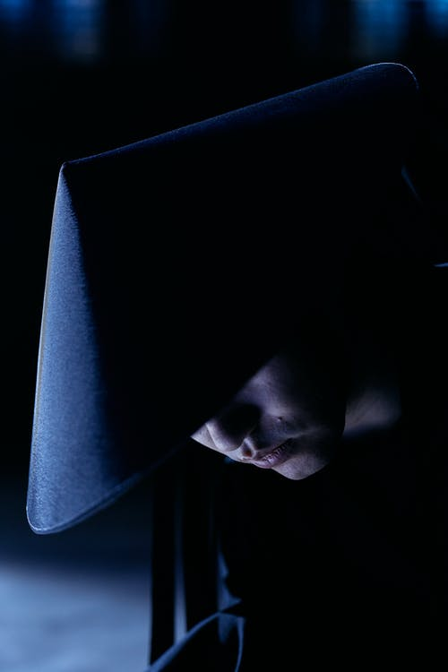 Woman in Black Hat Covering Her Face