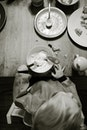 food, black-and-white, table
