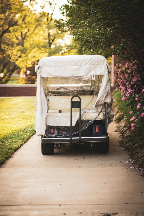 White and Black Golf Cart on Green Grass Field