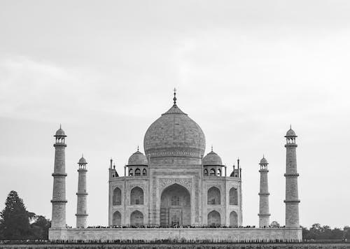 Monochrome Photo of Taj Mahal