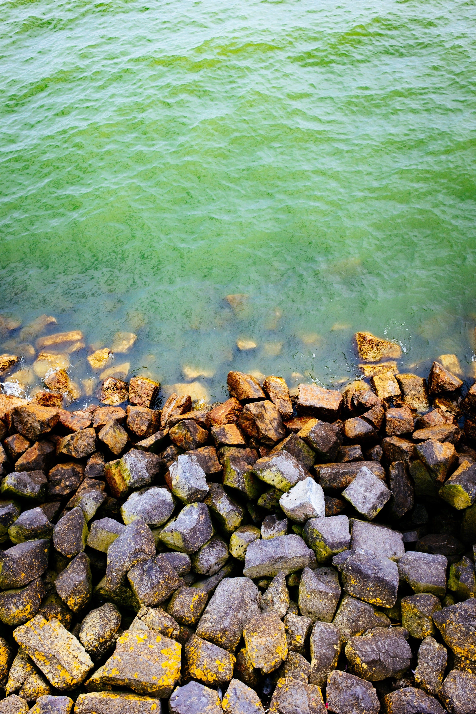 堆, 岩石, 招手, 水 的 免费素材照片