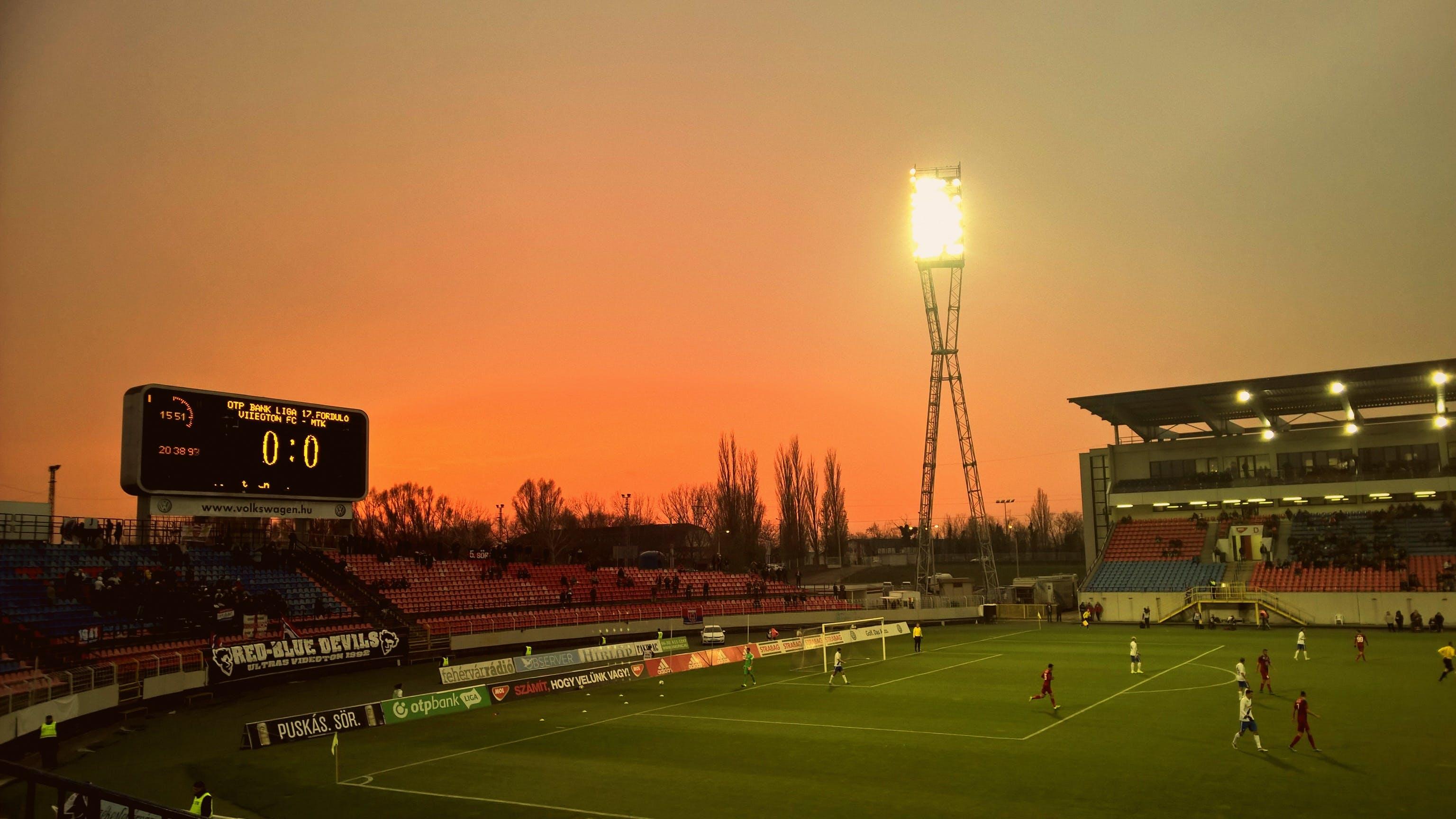 Free stock photo of sunset, football, entertainment, sports
