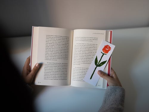 Person Holding Book Page With I Love You Print