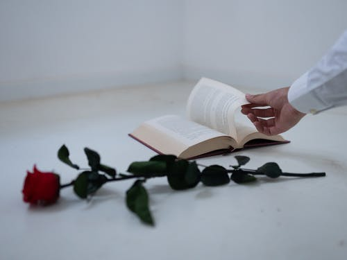 Person Reading Book on White Table