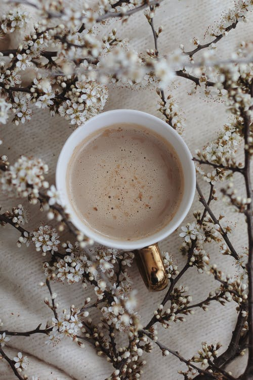 Hot coffee amidst blooming branches