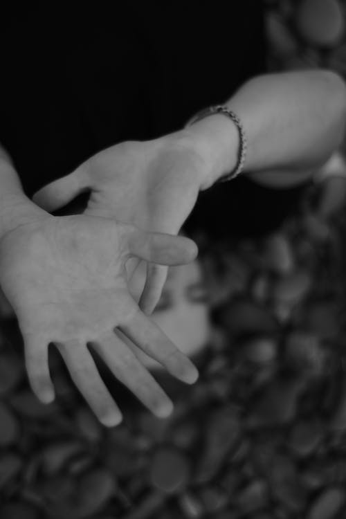 Grayscale Photo of a Person's Hands