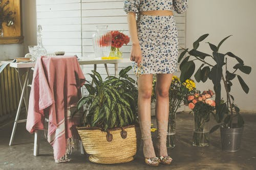Crop anonymous female wearing skirts and high heels standing near table with vase in light room with green potted plants