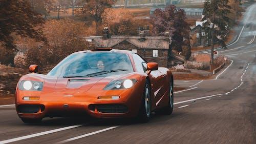 Orange Ferrari 458 Italia on Road