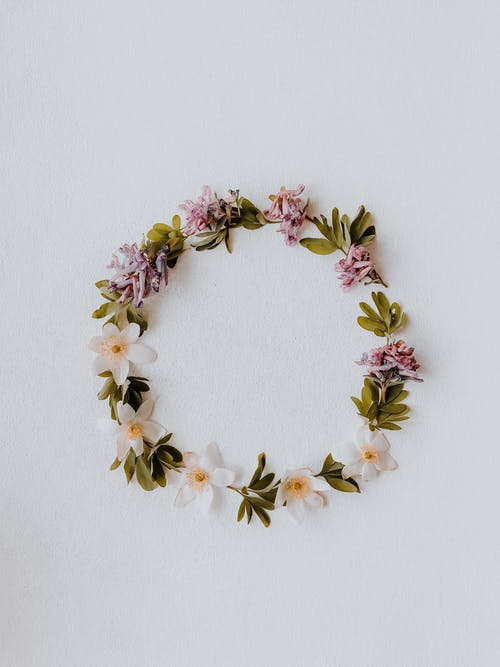 Purple Yellow and Green Floral Wreath