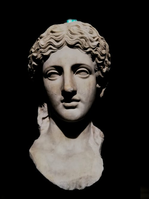 Foto d'estoc gratuïta de cara, estàtua grega, fons negre i pla