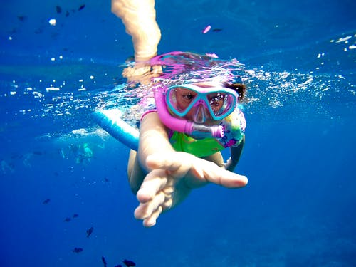 Person Wearing Blue Goggles Under Water