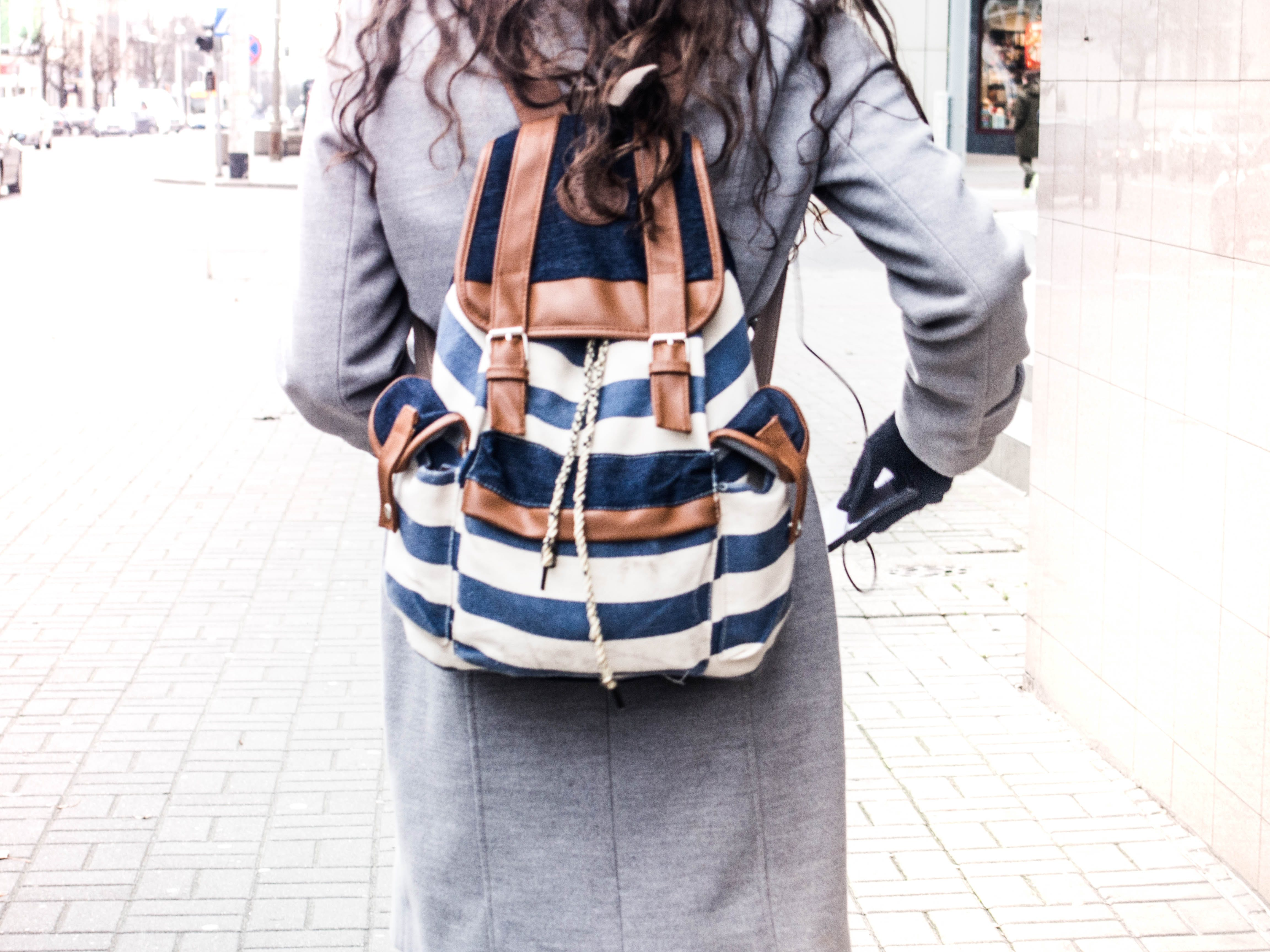 Free stock photo of stripes, backpack