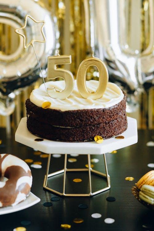 Chocolate Cake on White Cake Stand
