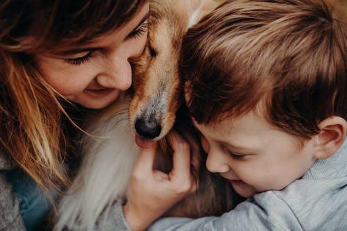 Crop smiling mother with son embracing Collie