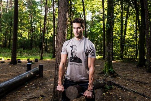 Man Wearing Crew-neck T-shirt Near Tree