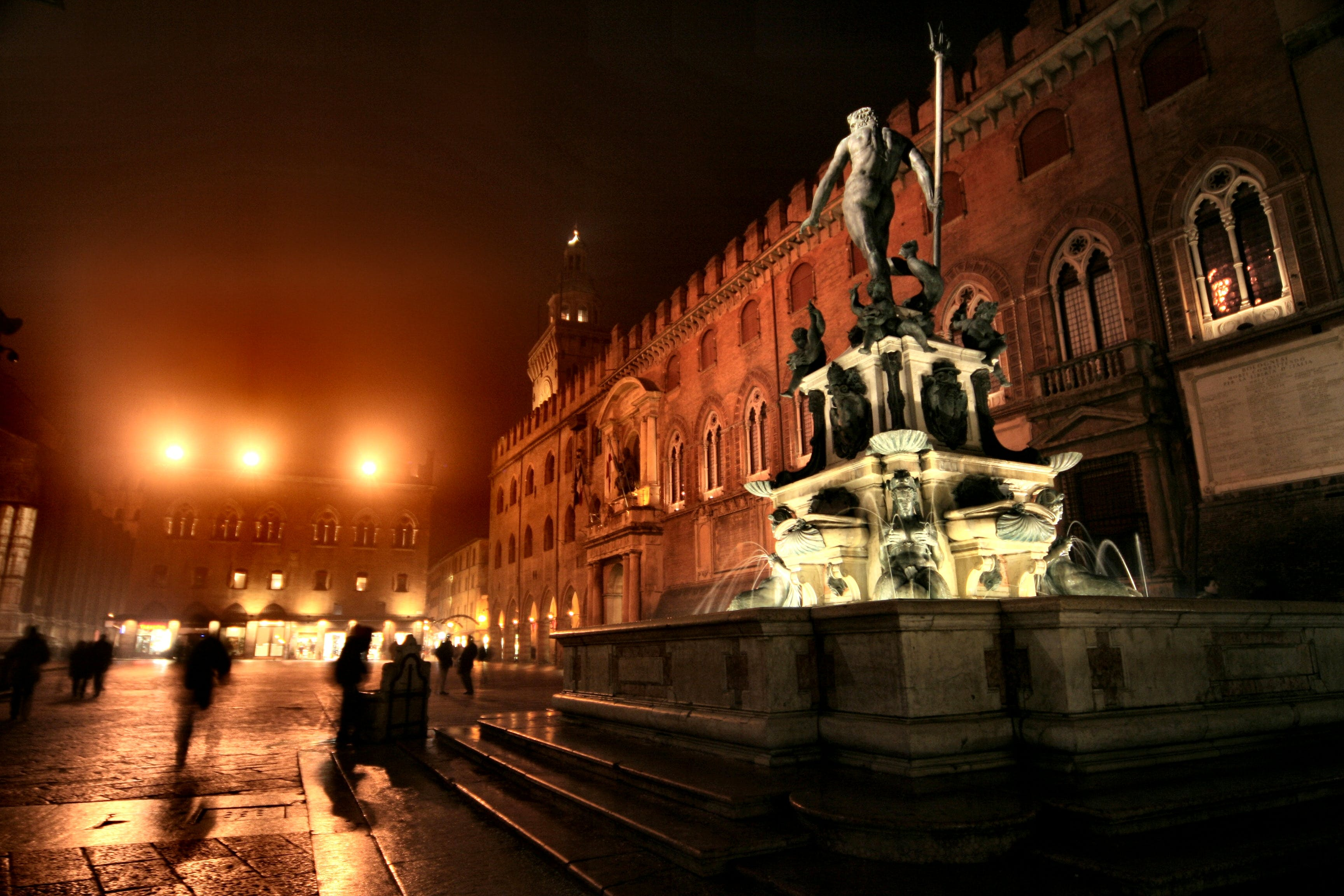 Monument With Water Fountain During Nighttime