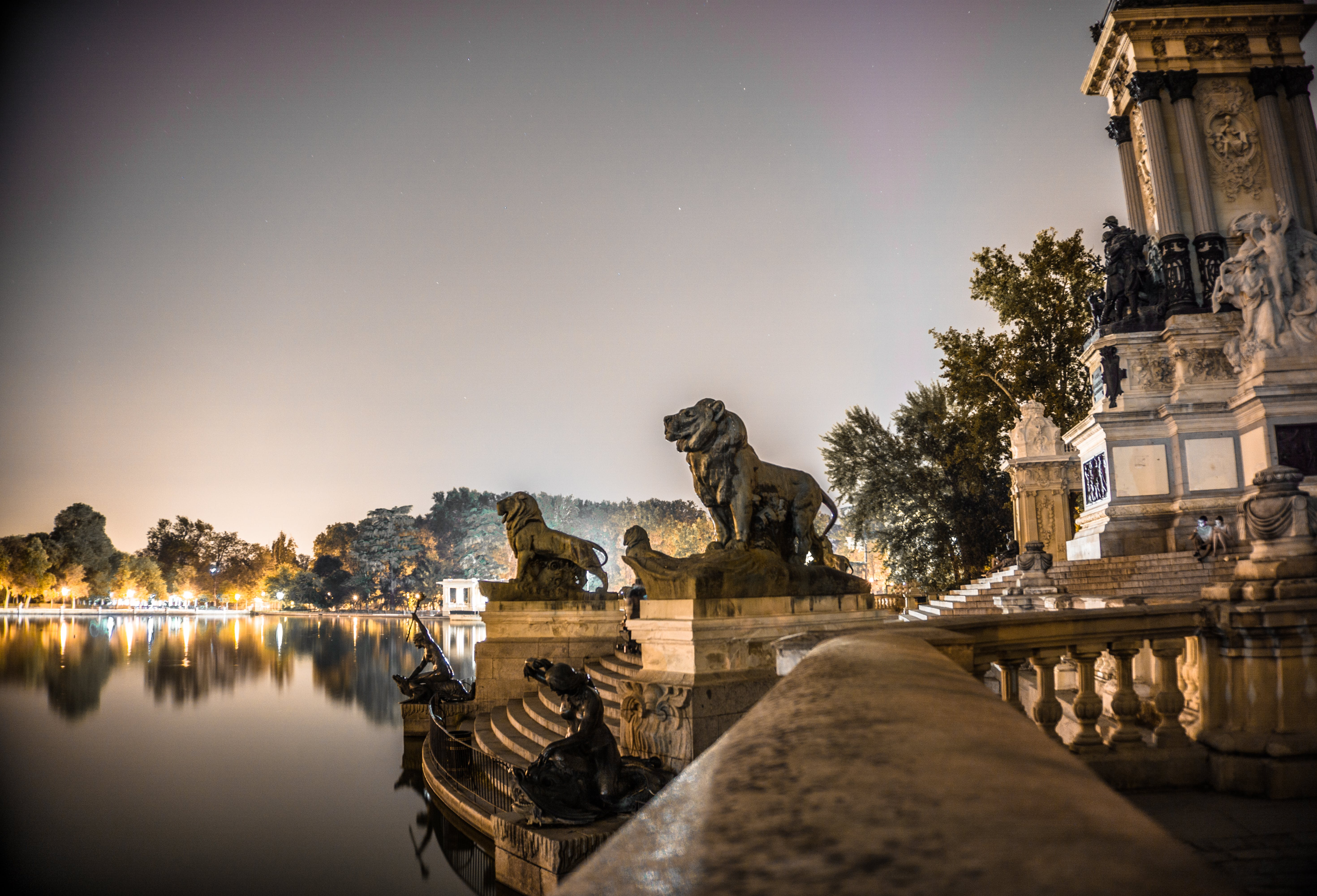 Shallow Focus of Gold Lion Statues