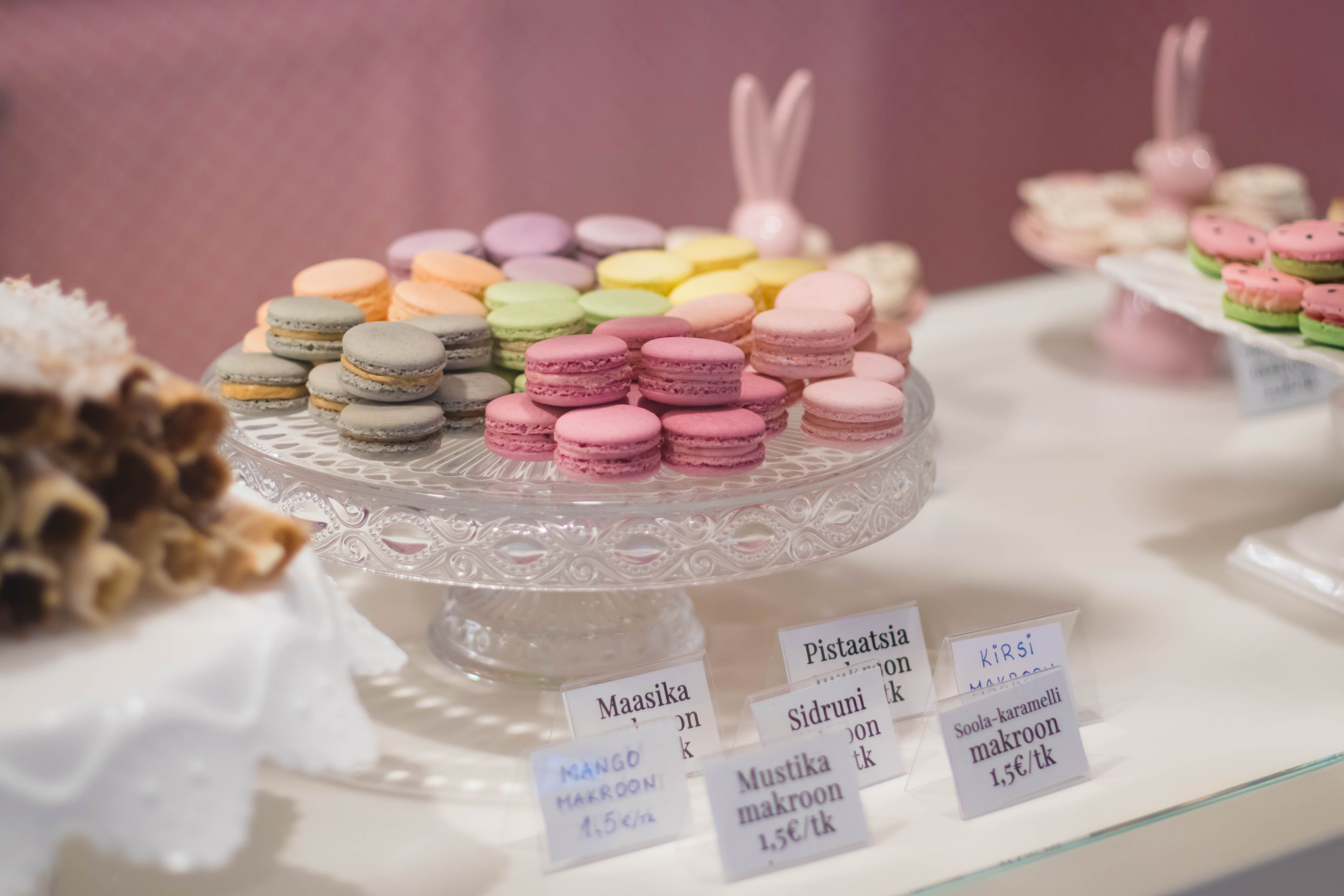 Macaroons On Cut Glass Tray