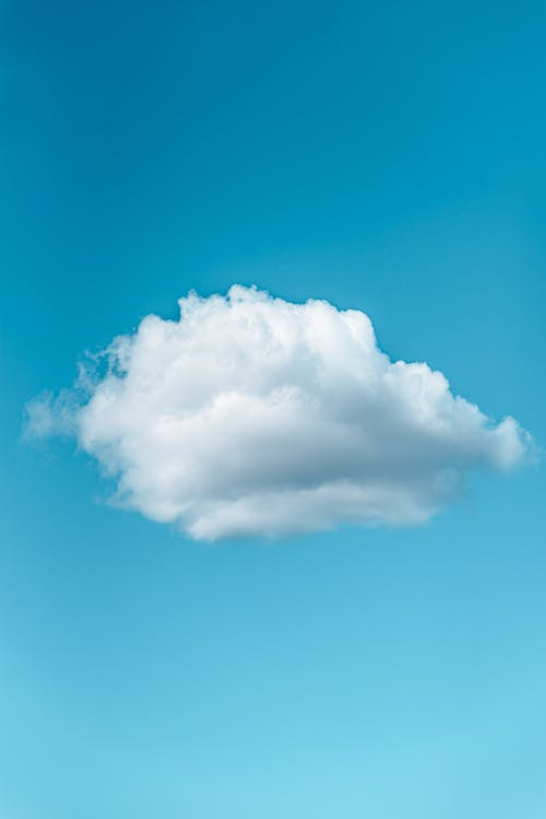 Lonely cloud floating in blue sky