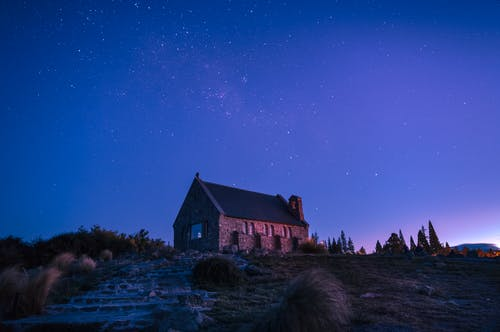 Brown and Black House Under Blue Sky during Night Time