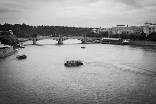 Free stock photo of black, blackandwhite, boat, bridge
