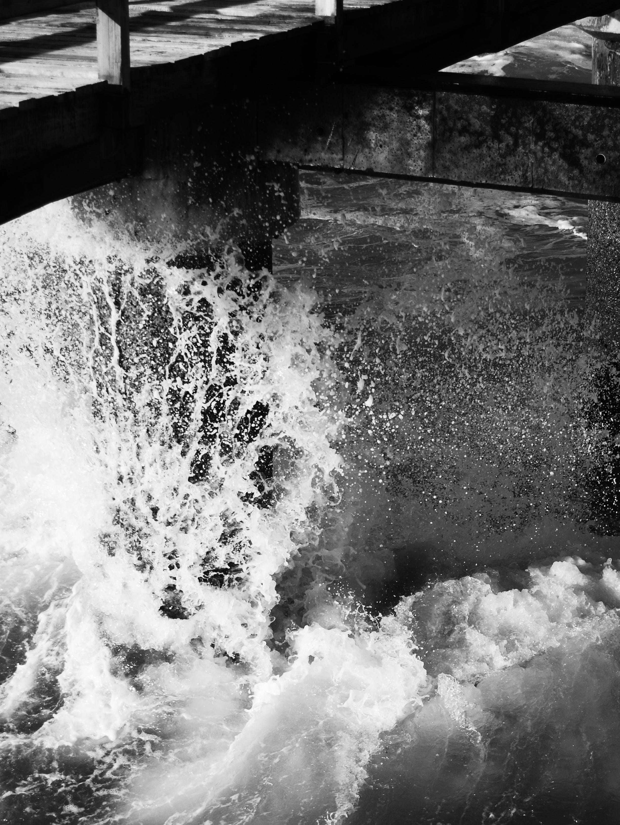 Free stock photo of Jetty Sea Water Tide Break Black White