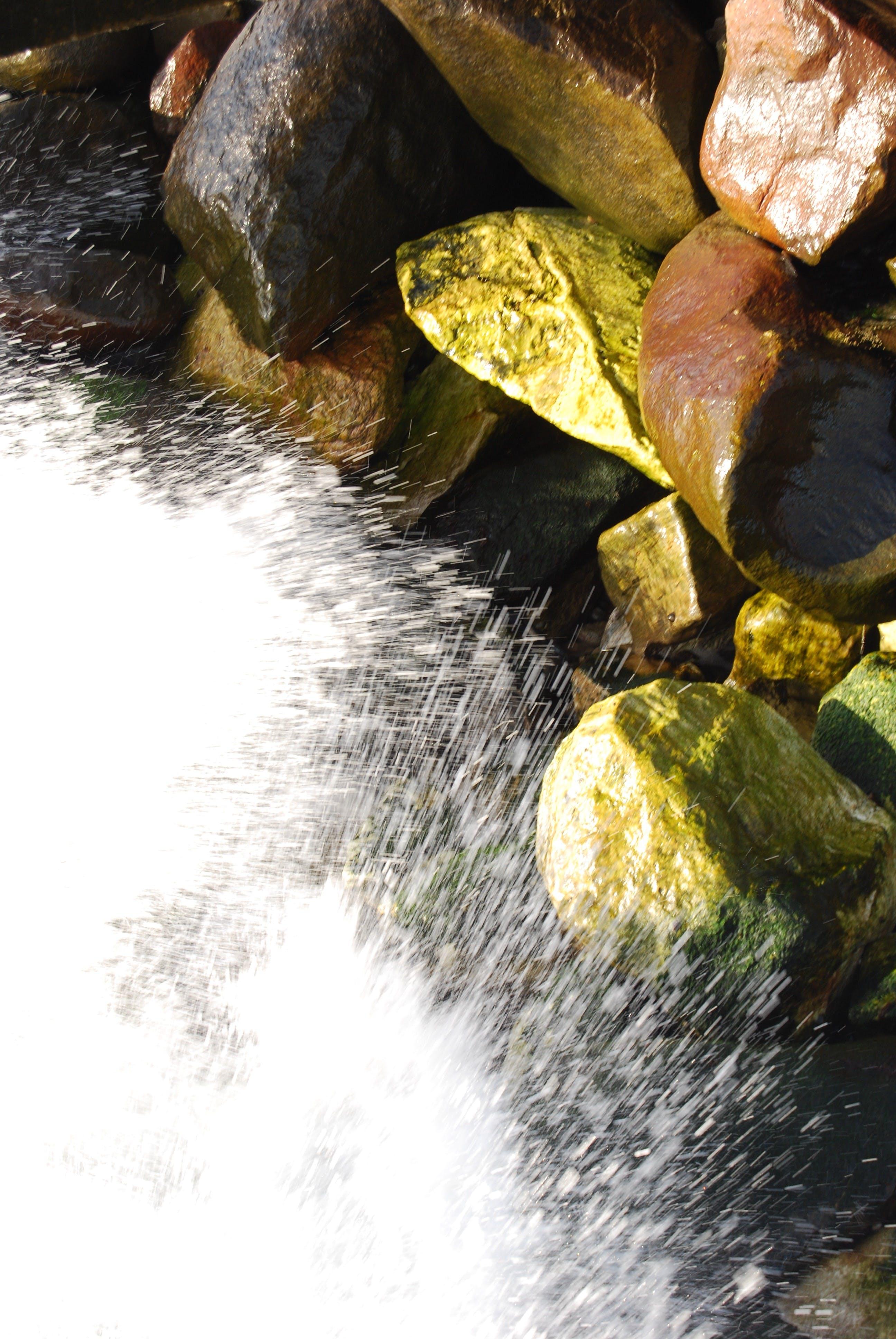 Free stock photo of Rocks Green Water Splash Nature Abstract