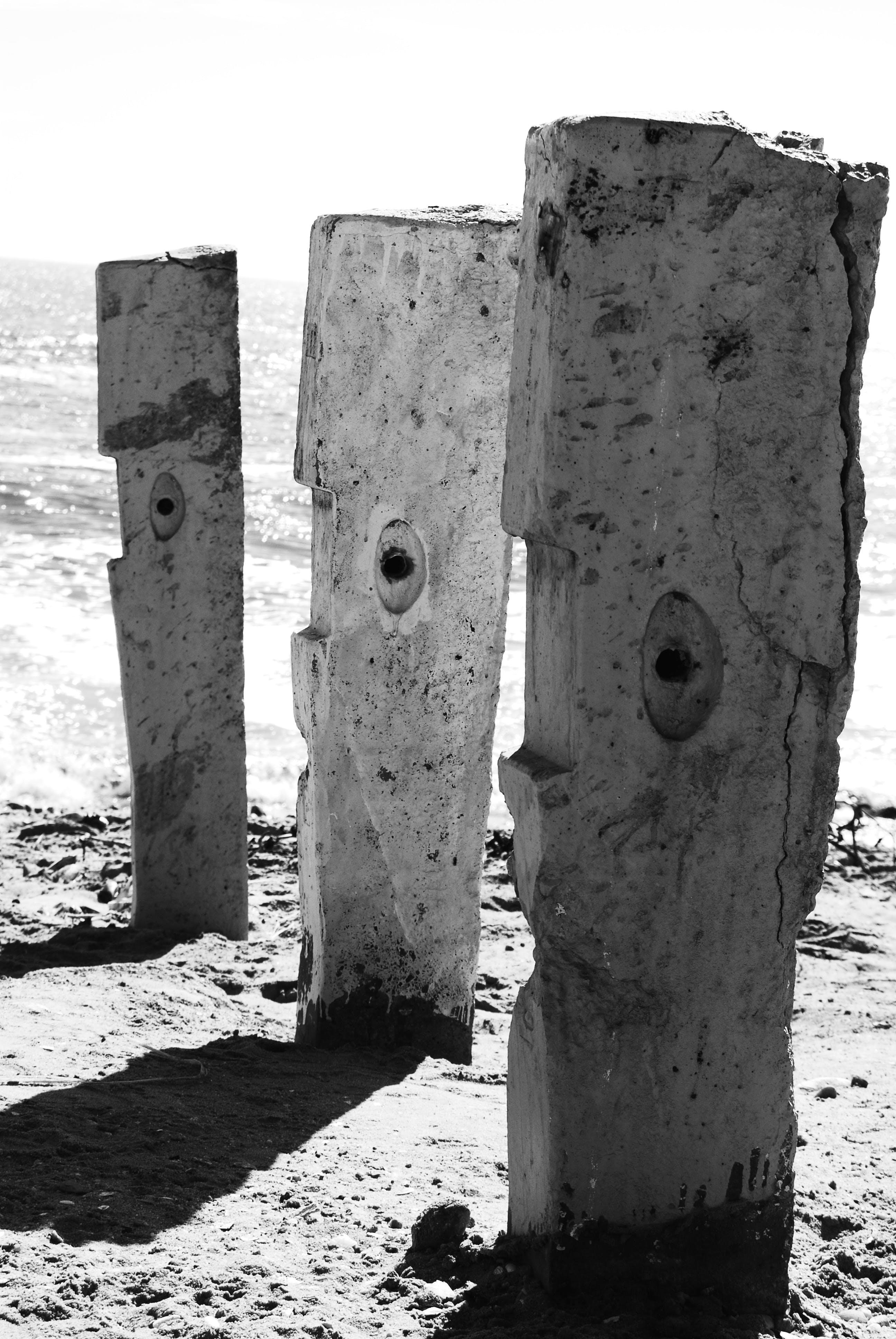 Free stock photo of Stone Faces Black White Abstract