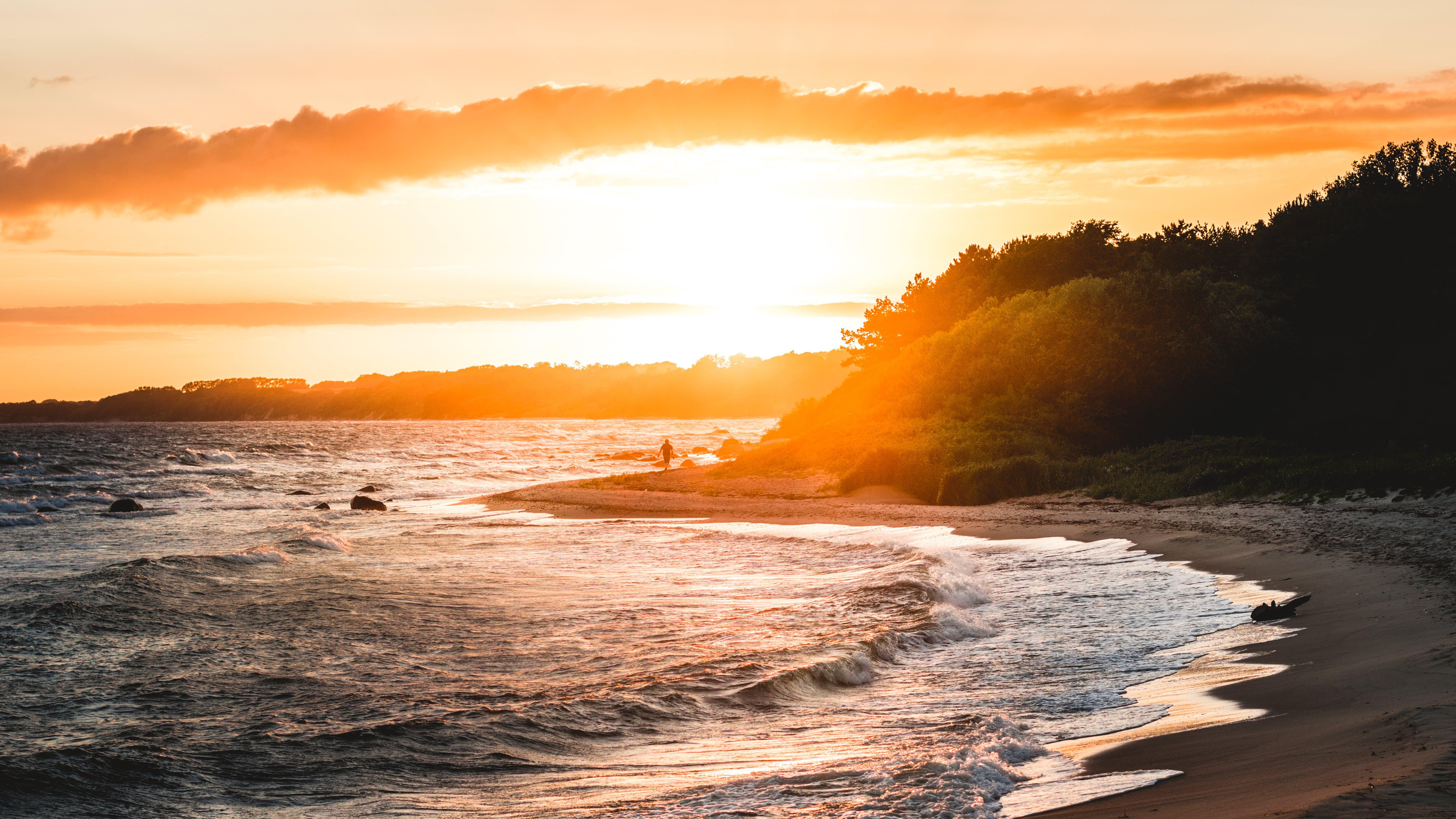 Gray Sand Beach during Sunset