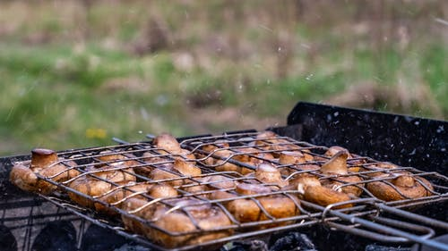 Grilled Mushrooms on Black Grill