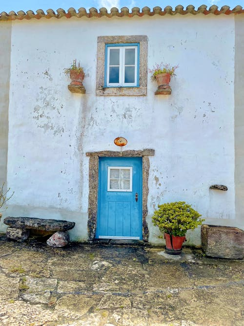 Free stock photo of beautiful, blue door, village house