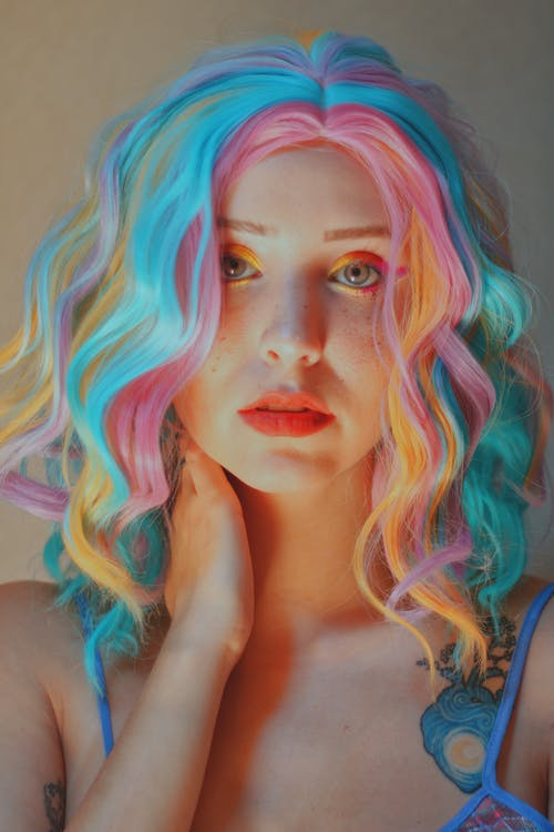 Woman With Pink Hair and Blue Eyes