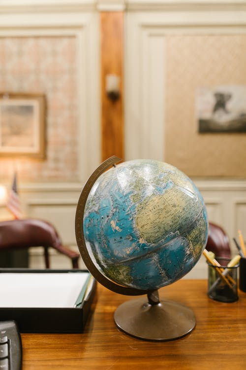 Blue and Brown Desk Globe