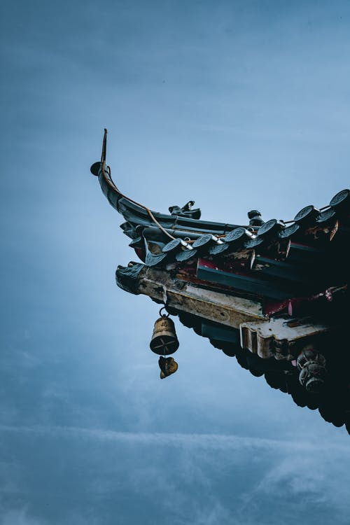 Traditional pagoda roof with ornament and bell under sky
