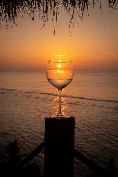 Free stock photo of beach sunset, glass, goblet