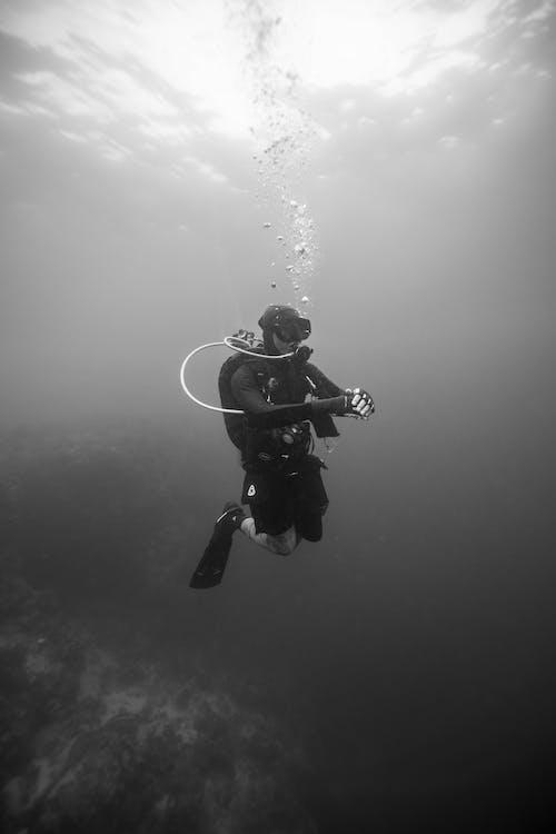 A Scuba Diver Diving Underwater