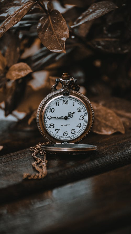 Silver and White Round Analog Pocket Watch
