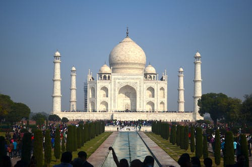 People Walking on Taj Mahal