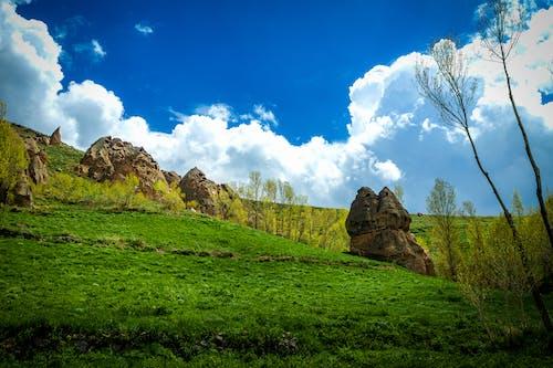 Free stock photo of big rocks, cloud, grass