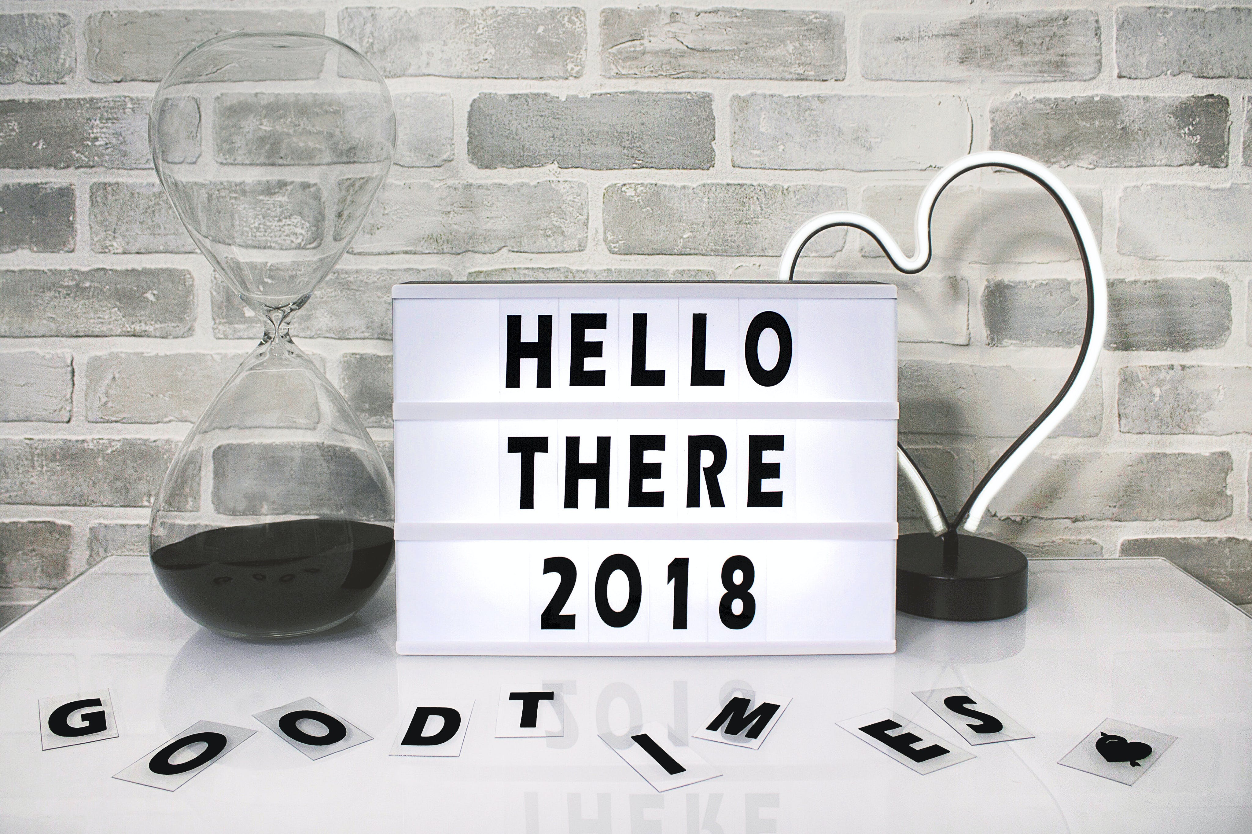 White Hello There 2018 Printed Board Against Gray Wall