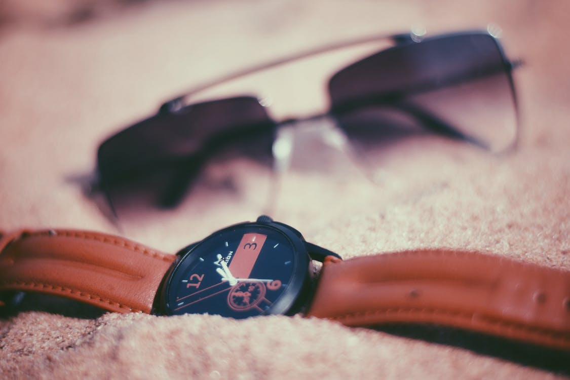 #watch #time #sunglass #sand