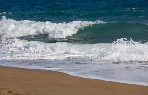 Ocean Waves on Brown Sand
