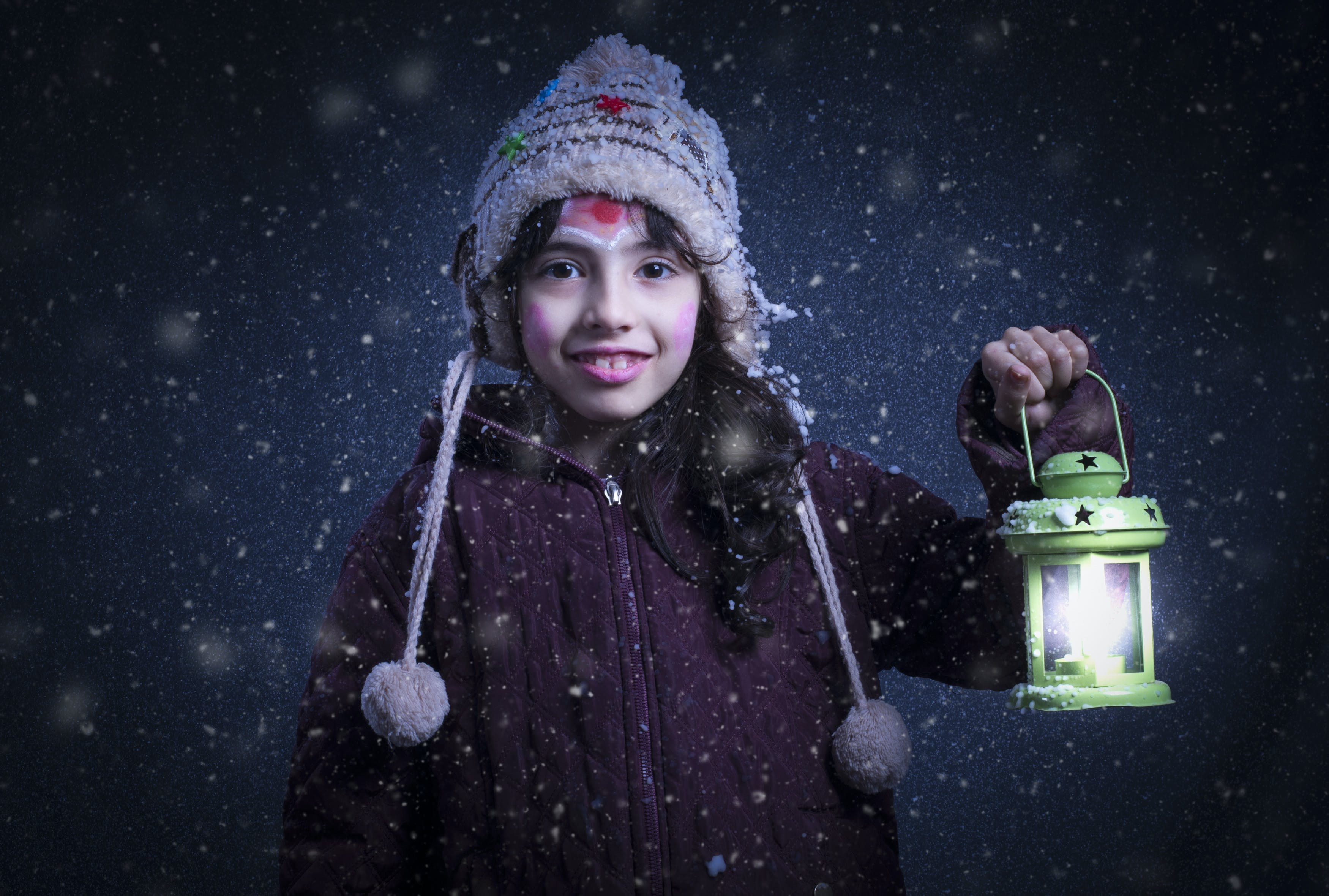 Girl Holding Green Lantern Lamp