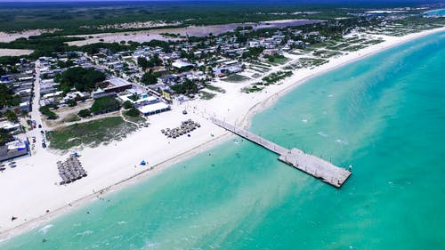 Free stock photo of aerial, beach, blue