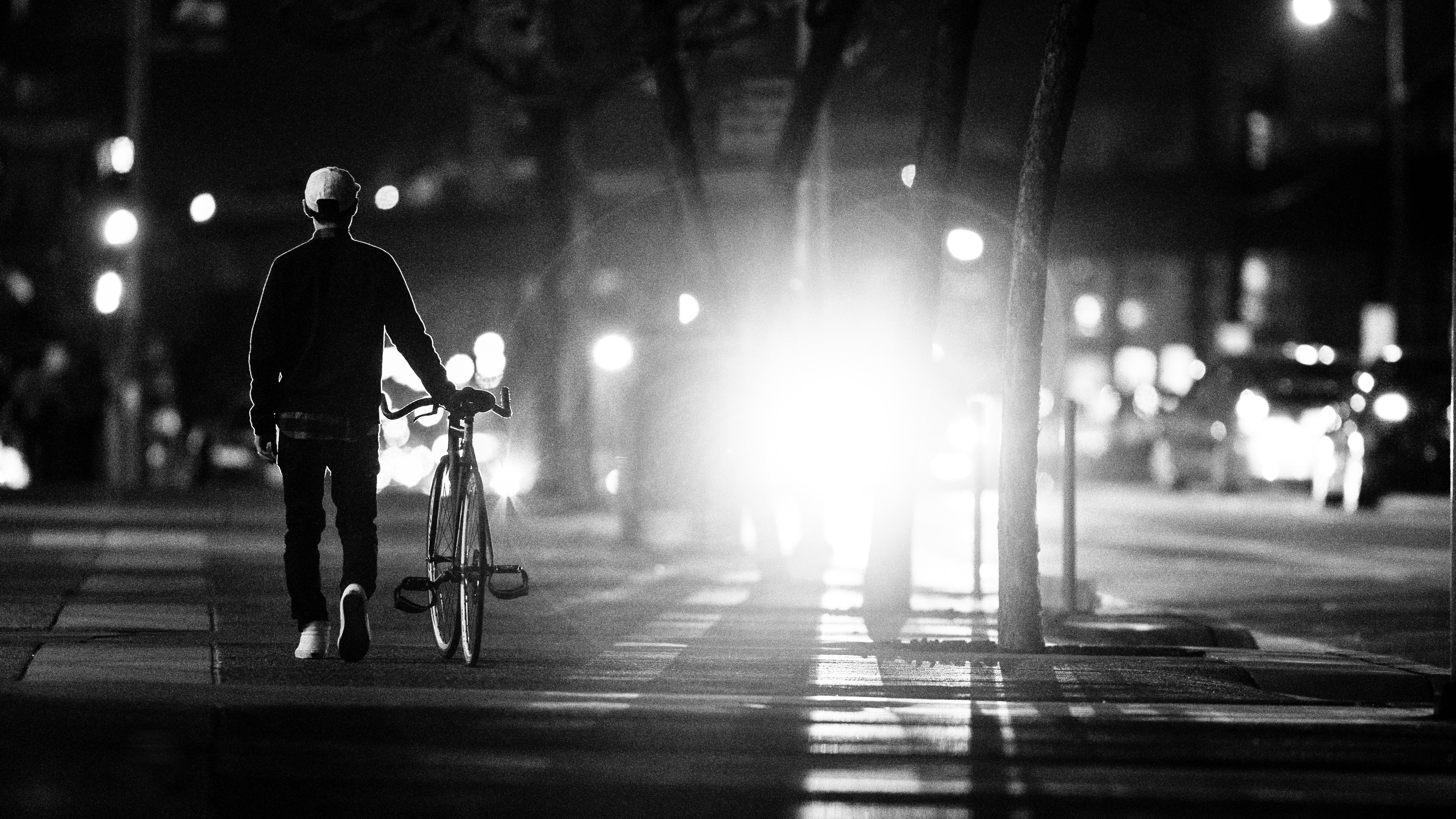 Free stock photo of black-and-white, night, street, walking