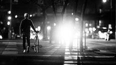 black-and-white, night, street