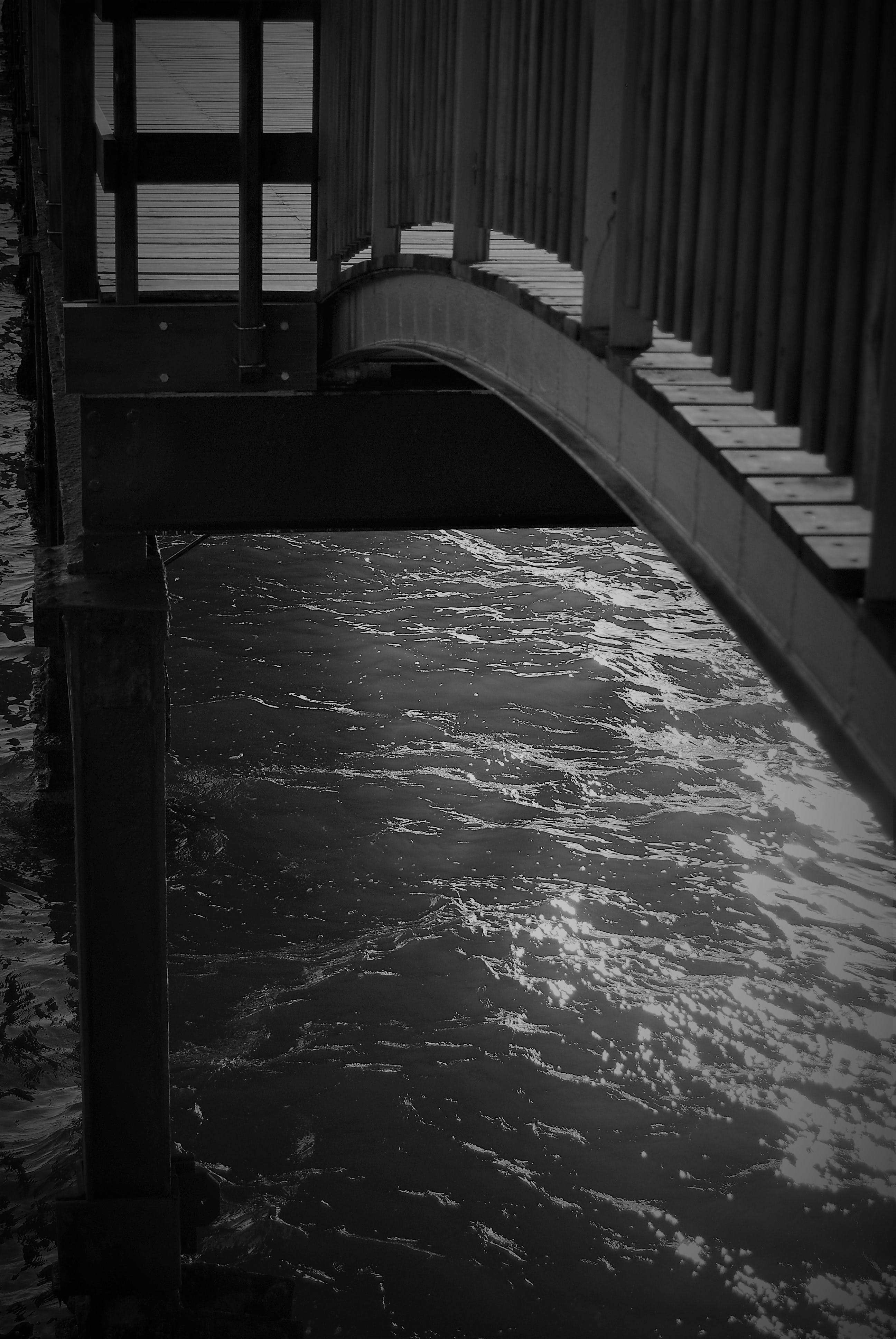 Free stock photo of Black and White Bridge Art Architecture Mood Sea